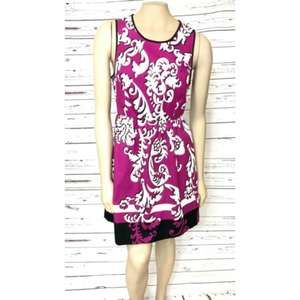 Crown & Ivy Fucshia White Dress 14 Petite